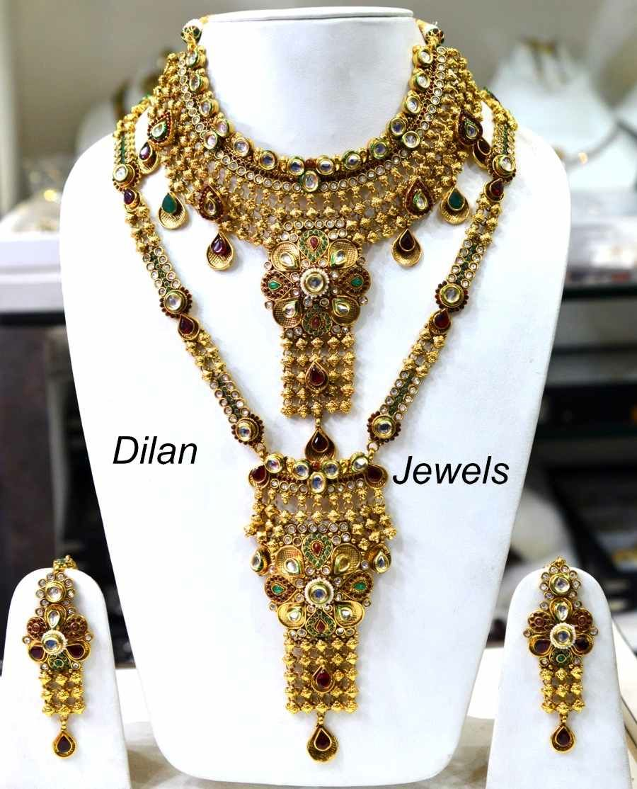 jewelry jewellery antique buy india semi shopping online flower bridal women necklace set design multicolor